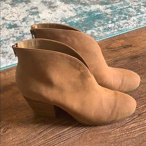 Brown Booties, Stacked Heel  (W12)